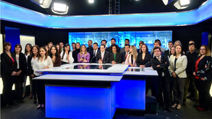 Les équipes de France 24 en espagnol quelques jours avant le lancement de la chaîne à Bogota (Colombie) en septembre 2017.