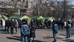Yerevan opposition tents