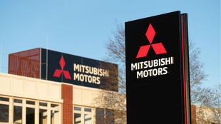 The logo of Japanese automaker Mitsubishi is seen at the company's plant in Friedberg, western Germany on January 21, 2020.