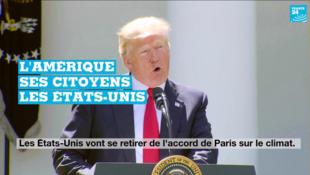 Donald Trump lors de son discours annonçant le retrait des États-Unis de l'accord de Paris, le 1er juin, à la Maison Balche.