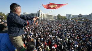 Protesters demonstrate against the results of a parliamentary vote in Bishkek, Kyrgyzstan, on Monday, October 5, 2020.