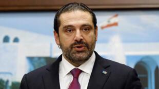 El primer ministro del Líbano, Saad al-Hariri, habla después de una reunión del gabinete en Baabda, cerca de Beirut, Líbano, el 5 de diciembre de 2017.