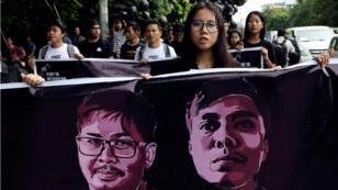 Archivo. Marcha en solidaridad por los periodistas de Reuters Wa Lone y Kyaw Soe Oo, encarcelados en Myanmar. 1 de septiembre de 2018.