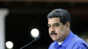 El presidente de Venezuela, Nicolás Maduro, ofrece un mensaje televisado el 22 de junio de 2020 en el Palacio de Miraflores, en Caracas