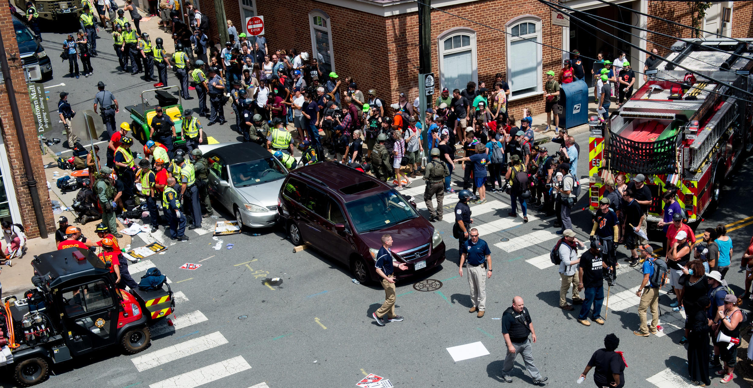 The scene of the Charlottesville attack, August 12, 2017.