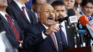 L'ex-président Ali Abdallah Saleh lors d'un discours en août 2017, à Sanaa.