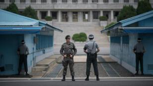 Des soldats sud-coréens à Panmunjom, dans la zone démilitarisée entre les deux Corées, le 2 août 2017.