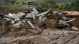 Des dégâts causés par la coulée de boue dans l'État du Minas Gerais, au Brésil.