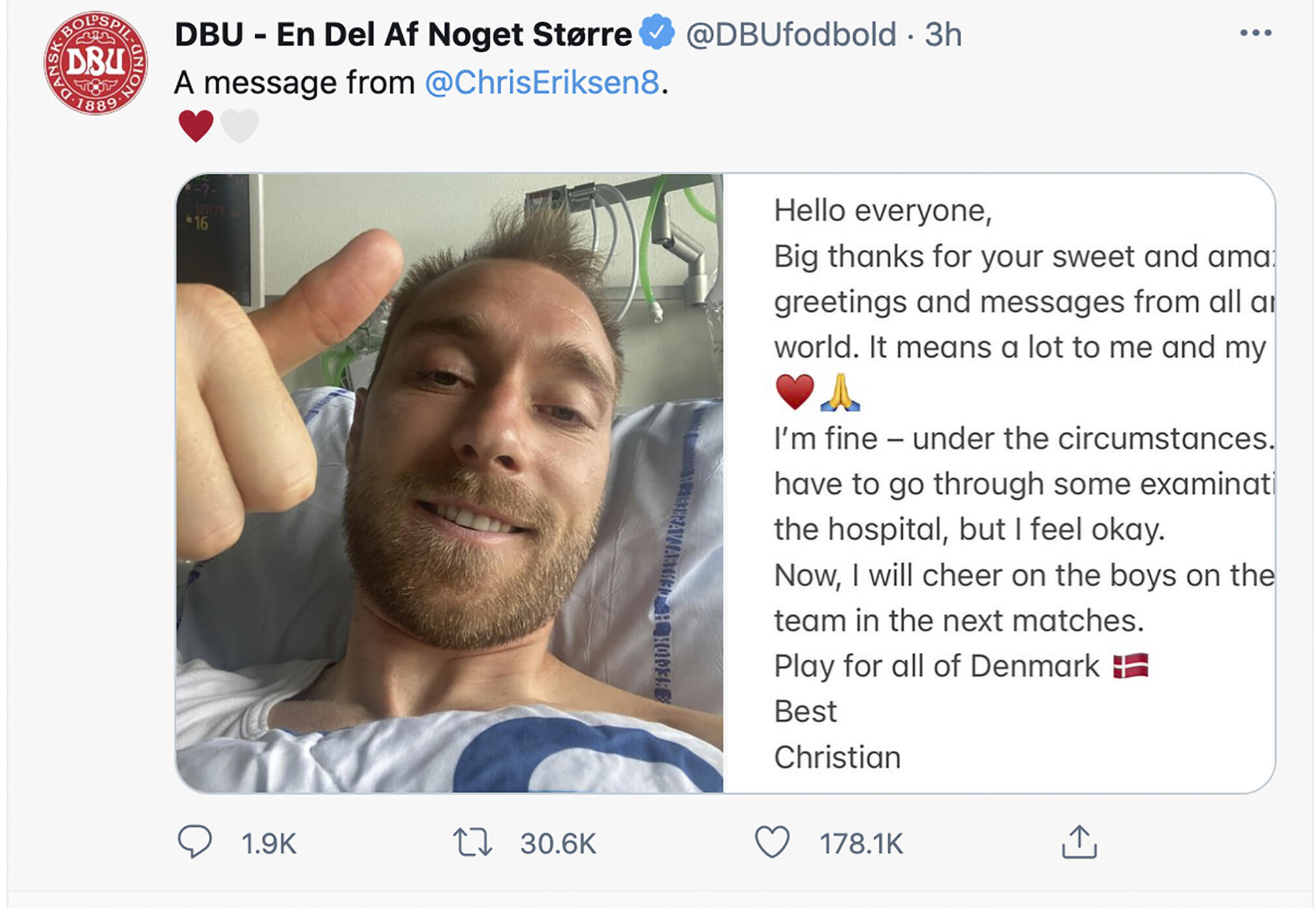 Denmark's Eriksen sends thank you message from hospital bed following pitch  collapse