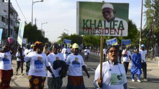 Des manifestants soutenant Khalifa Sall, le 28décembre2018, à Dakar.