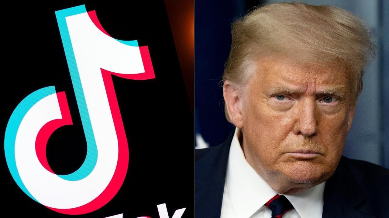 Combinación de imágenes, creadas el 1 de agosto de 2020, que muestra el logotipo de la aplicación para compartir videos, Tiktok, y el presidente de Estados Unidos, Donald Trump, en la Casa Blanca en Washington, D. C, el 30 de julio de 2020.