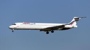 Un McDonnell Douglas MD-83 de la compagnie espagnole Swiftair, le même modèle qui a disparu jeudi au dessus du nord du Mali