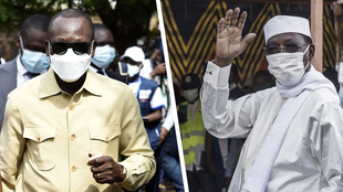 Los mandatarios Patrice Talon (izquierda) e Idriss Déby (derecha) buscan permanecer en el poder en Benín y Chad respectivamente, este domingo 11 de abril de 2021.
