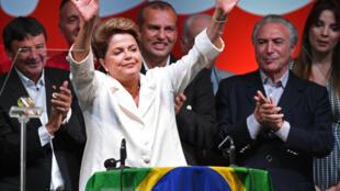Dilma Rousseff délivre son discours de victoire à Brasilia, à l'issue de l'élection présidentielle.