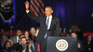 Barack Obama lors de son discours d'adieu à Chicago, mardi 10 janvier 2017.