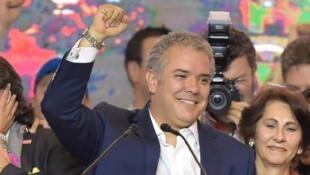 إيفان دوكي، المرشح اليميني الفائز في الانتخابات الرئاسية الكولومبية. 17 حزيران/يونيو 2018.