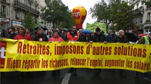 Le cortège de la CGT à Paris, le 24 septembre 2019, lors de la manifestation contre la réforme des retraites.