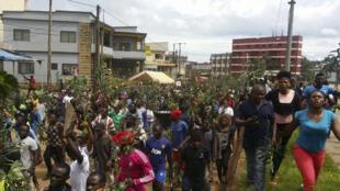 """Manifestation contre la """"marginalisation"""" des régions anglophones, le 22 septembre à Bameda."""