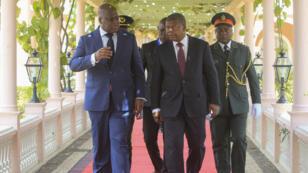 Le président de la RD Congo, Félix Tshisekedi, et son homologue angolais, Joao Lourenço, le 5 février 2019, à Luanda.