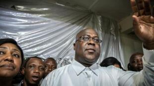 Félix Tshisekedi à Kinshasa, après l'annonce des résultats provisoires de la présidentielle, le 10 janvier 2019.