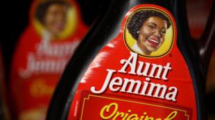 Bottles of Aunt Jemima pancake syrup displayed on a shelf at Scotty's Market on June 17, 2020, San Rafael, California.