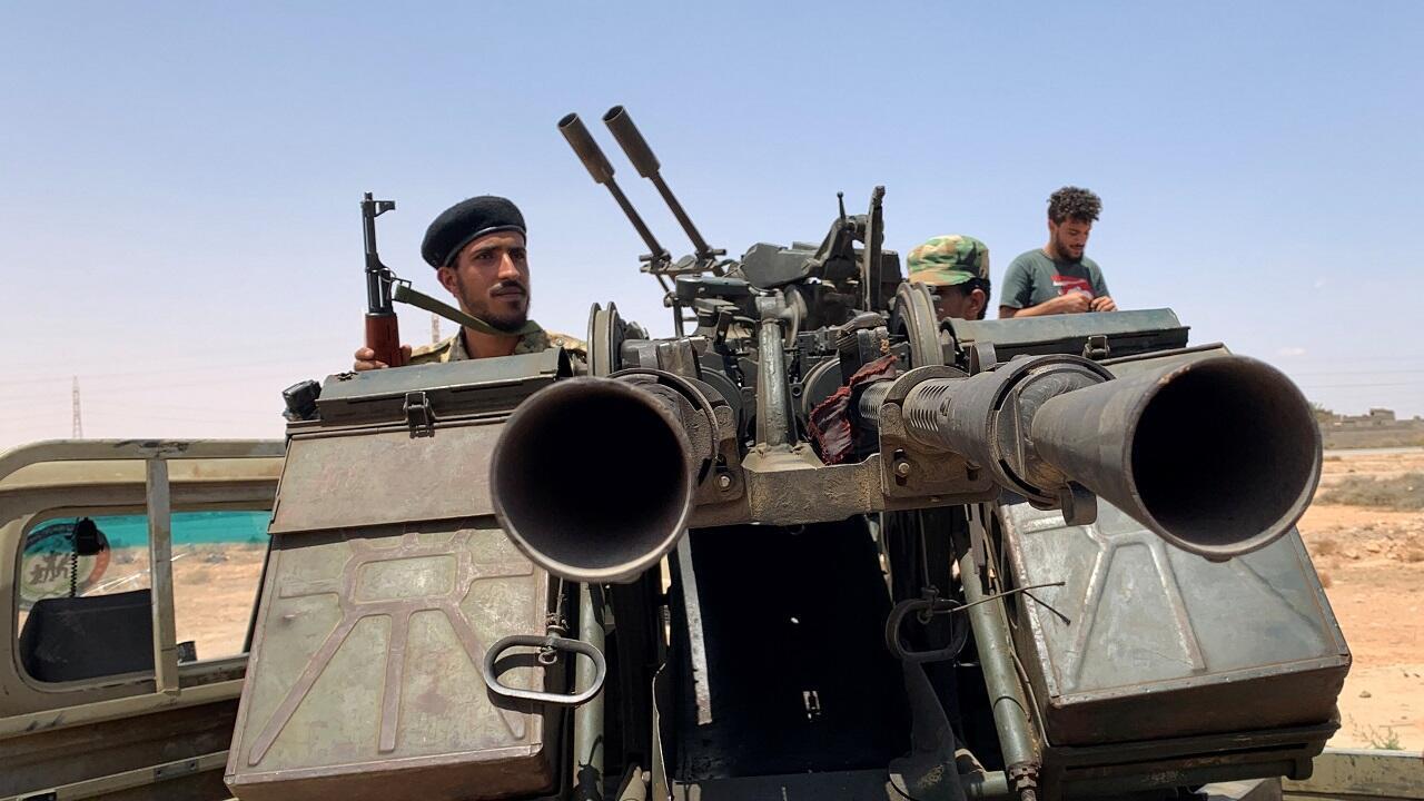 قوات موالية للحكومة الليبية المعترف بها دوليًا تستعد للتوجه إلى سرت. مشارف مصراتة، ليبيا في 18 يوليو/تموز 2020.