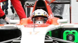 Le pilote Marussia Jules Bianchi, juste avant le départ du Grand Prix du Japon 2014.