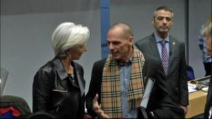 La directrice du FMI Christine Lagarde et le ministre grec des Finances Yanis Varoufakis à Bruxelles, le 11 février 2015.