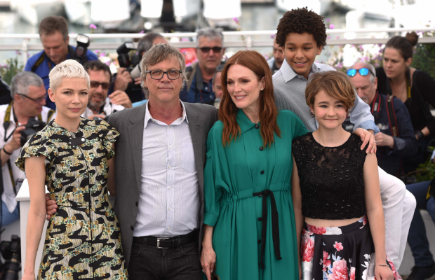 "From left to right: Michelle Williams, ""Wonderstruck"" director Todd Haynes, Julianne Moore, Jaden Michael and Millicent Simmonds attending the Cannes photocall on Thursday."