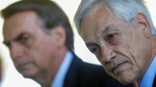 Fotografía de la pasada reunión del 28 de agosto entre Sebastián Piñera y Jair Bolsonaro en el Palacio de la Alvorada en Brasilia.