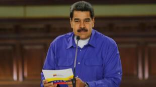El presidente Nicolás Maduro participa de un acto de Gobierno en el Palacio de Miraflores, en Caracas, el 14 de agosto de 2019.