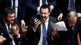 Matteo Salvini is applauded as he speaks at the Senate in Rome, Italy February 12, 2020. REUTERS OK