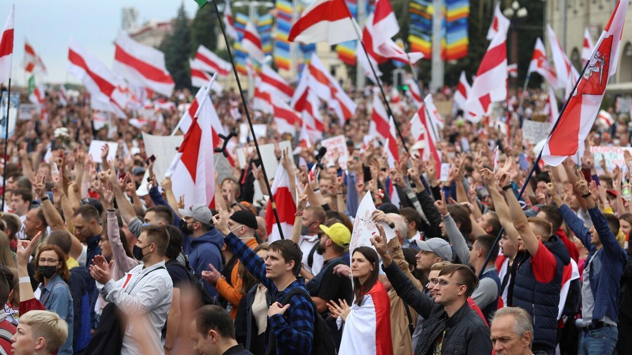 مظاهرات منددة بالقمع ورفضا لنتائج الانتخابات الرئاسية في بيلاروسيا. مينسك في 6 سبتمبر/أيلول 2020.