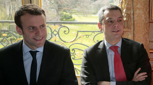 Emmanuel Macron (g) alors ministre de l'Économie et son chef de cabinet Alexis Kohler (d), le 7 mars 2016.