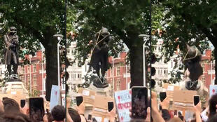 This combination of pictures taken from a June 7, 2020 video courtesy of William Want (@willwantwrites) via Twitter, shows protesters pulling down a statue of slave trader Edward Colston in Bristol, southwest England, during a Black Lives Matter demonstration.