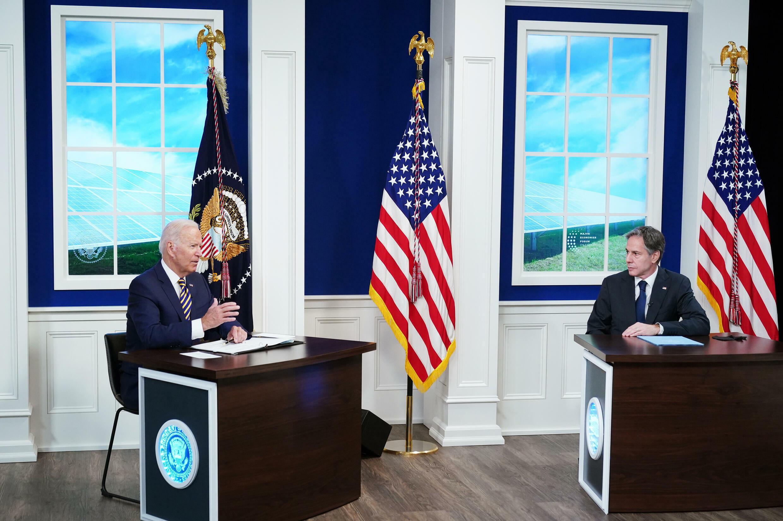الرئيس الأميركي جو بايدن ووزير الخارجية أنتوني بلينكن في البيت الأبيض في 17 أيلول/سبتمبر 2021