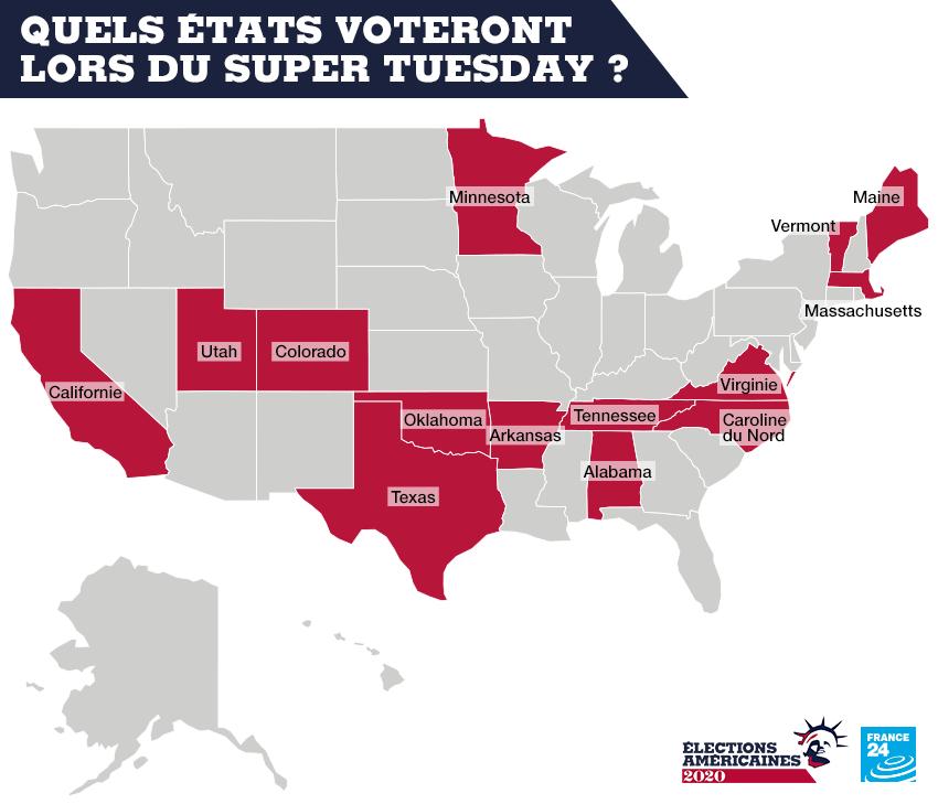"""Quels États américains votent lors du """"Super Tuesday"""" ?"""