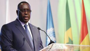 Le président sénégalais Macky Sall le 29 mars 2017, lors d'un discours à Abidjan.