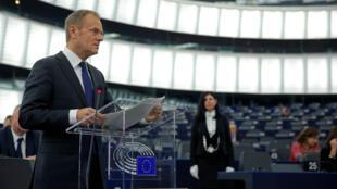 El presidente del Consejo Europeo, Donald Tusk, en el Parlamento europeo el 16 de enero del 2018.