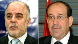 رئيس الوزراء العراقي حيدر العبادي وسلفه نوري المالكي