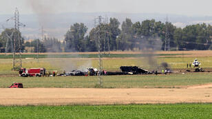 Picture shows wreckage of an Airbus A400M military transport plane after crashing near Sevilla on May 9, 2015