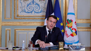 French President Emmanuel Macron speaking at a meeting of the leaders of the G5 Sahel group via video conference on Tuesday, 16 February, 2021, in Paris.