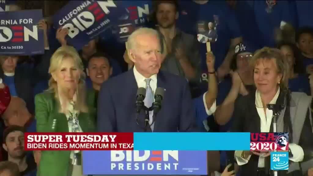 2020-03-04 09:31 US Democratic Primary: Former Vice President Joe Biden triumphs on Super Tuesday