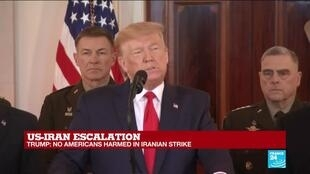 "2020-01-08 17:29 We will no longer tolerate Iran's ""destructive behaviour,"" says Trump"