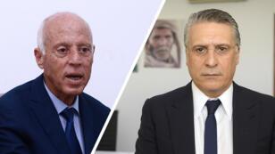 Nabil Karoui (gauche) et Kais Saïed s'affronteront au second tour de la présidentielle tunisienne.