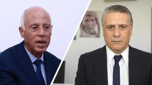 Nabil Karoui (gauche) et Kaïs Saïed s'affronteront au second tour de la présidentielle tunisienne.
