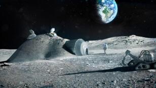 Illustration de l'Agence spatiale européenne représentant une base permanente sur la Lune.