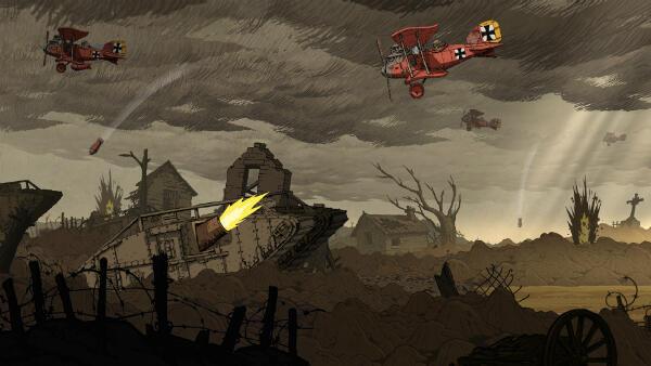 """Le jeu """"Soldats inconnus"""" montre aussi les prouesses technologiques de la guerre comme les chars et le développement de l'aviation."""