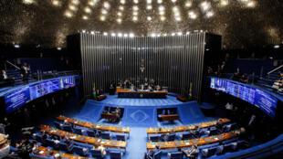 Vista general del Congreso brasileño durante la sesión para elegir a los integrantes del Senado, el 1º de febrero de 2021 en Brasilia