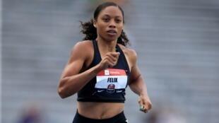 L'Américaine Allyson Felix lors des séries du 400 m aux Championnats des Etats-Unis d'athlétisme, le 25 juillet 2019 à Des Moines dans l'Iowa